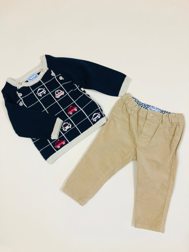 Sweater and corduroy trouser set