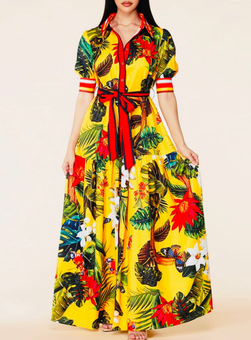Butterfly flower print maxi dress