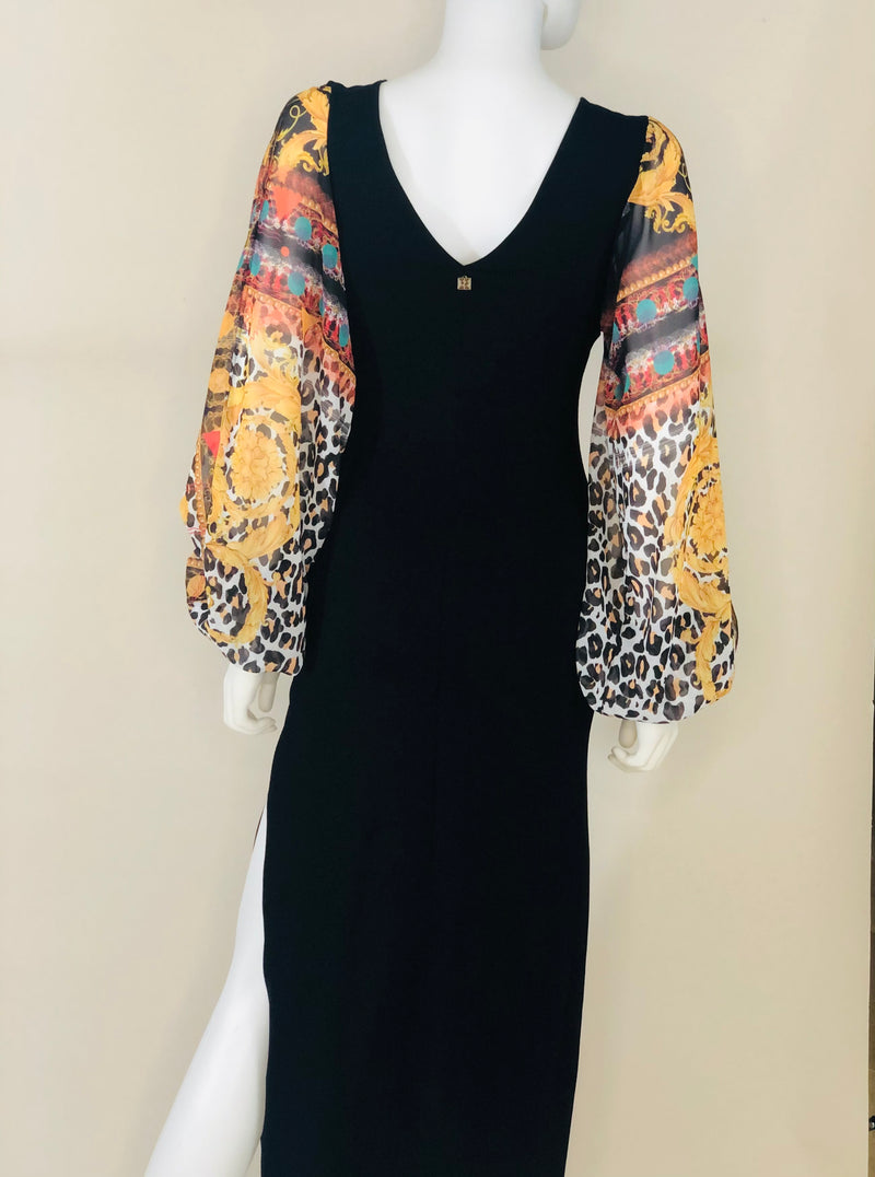 Print slit sleeve dress