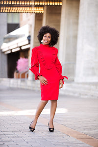 Ruffle bib dress
