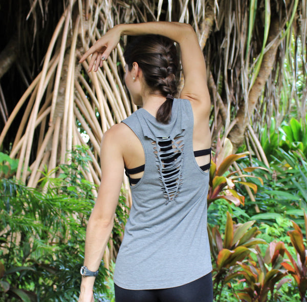 Faith>Fear Bamboo Sleeveless Tee - Gray
