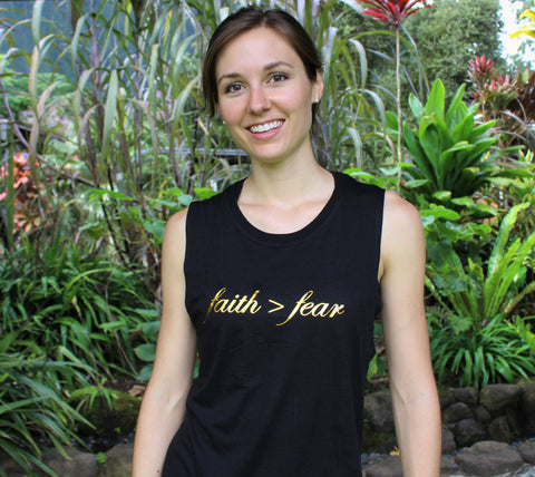 Faith>Fear Bamboo Sleeveless Tee - Black