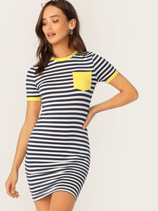 AVAL Pocket Patched Striped Ringer Tee Dress