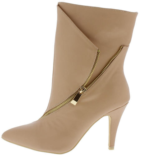 Beige Wrap Side Zip Extended Ankle Boot