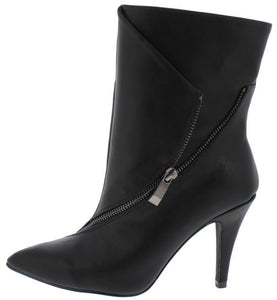 Black Wrap Side Zip Extended Ankle Boot