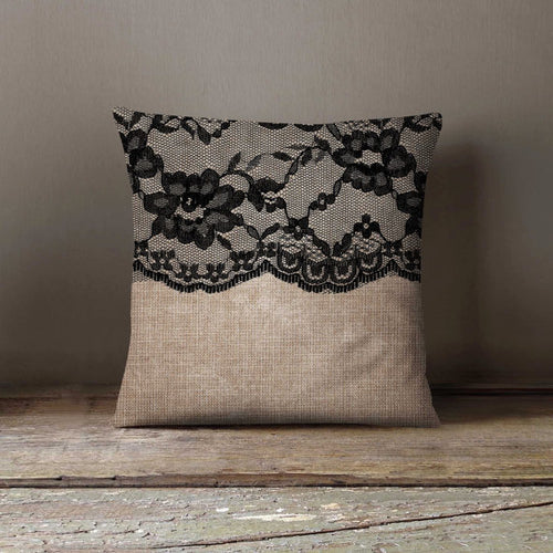 Black Lace Pillowcase Decorative Throw Pillow