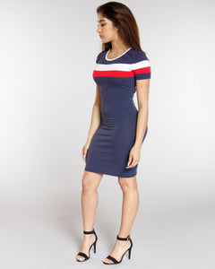 Color Block Ringer Dress - Navy
