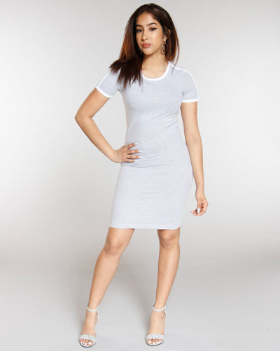 Double Striped Dress - Heather Grey