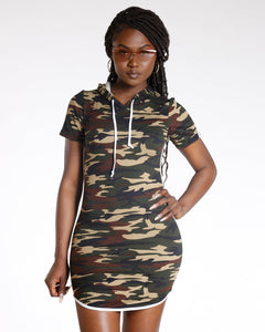 AVAL Green Camo Side Stripe Hooded Tunic