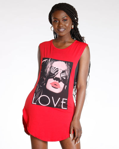 AVAL Red Love Girl Wide Arm Tunic