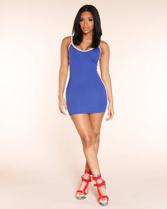 On My Block Striped Dress - Royal