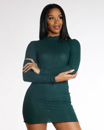 AVAL Elmyra Green Long Sleeve Ribbed Sweater Dress