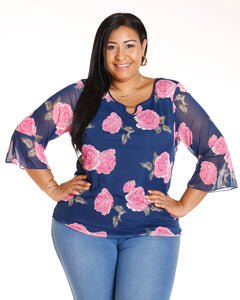 AVAL Bell Sleeve Floral Top