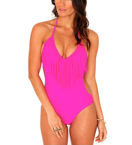 Padded One Piece Fringed Swimsuit