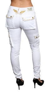 Robin Jeans W/Clear Crystal SW&Gold (WHITE)