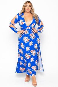 Plus Size Plunging Floral  Maxi Dress - Blue