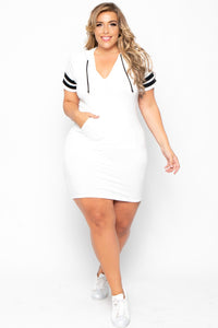 Plus Size Varsity Stripe Hoodie Dress -  Ivory