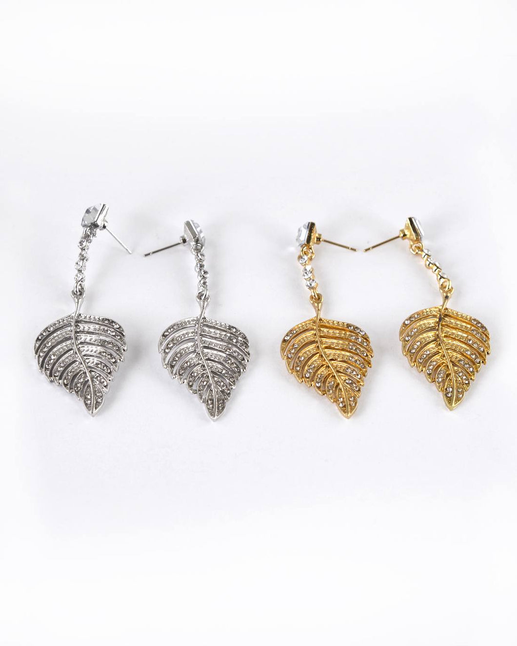 Crystal and Stone Studded Metallic Leaf Accent Drop Earrings