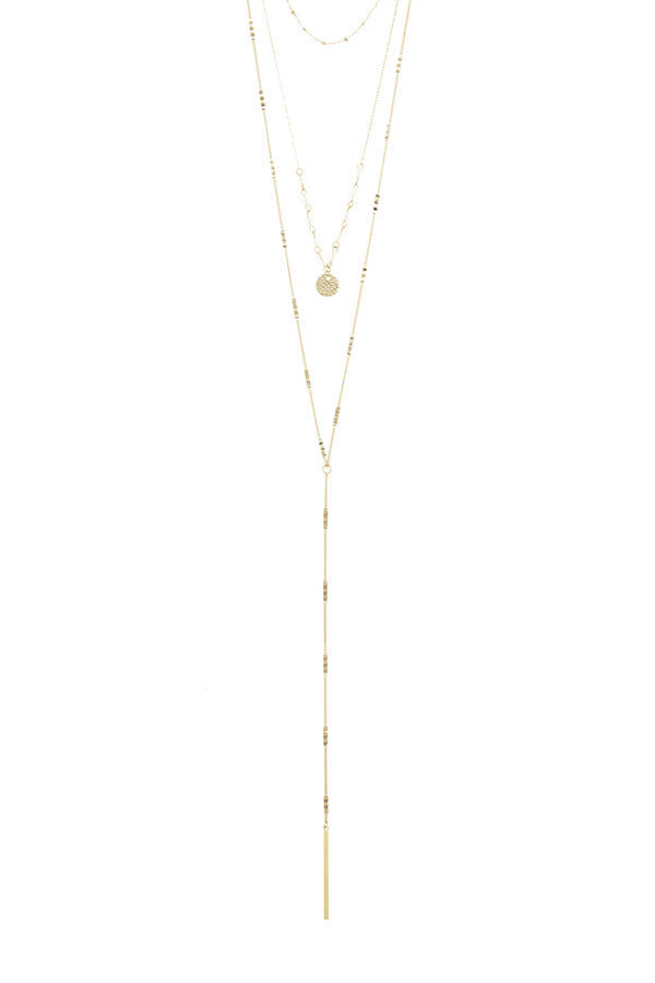 Linear bar accent multi layer lariat necklace