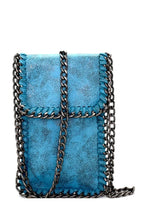 Chain accent metallic cellphone holder cross body bag