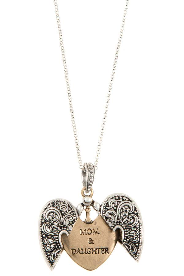 Etched heart pendant long necklace