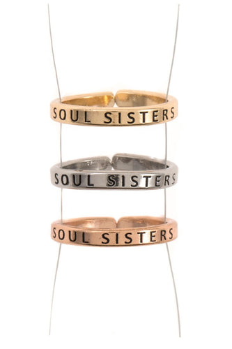 Ladies engraved soul sisters triple ring set