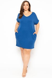 Basic T-Shirt Dress - Blue