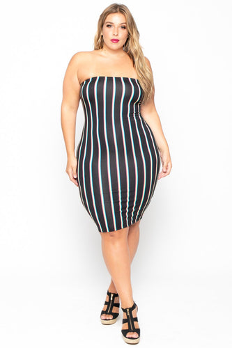 Plus Size Rainbow Bright Tube Dress - Black