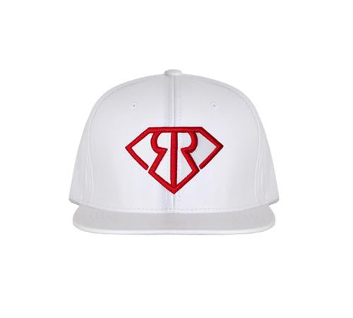 WHITE LEATHER SNAPBACK RED LOGO