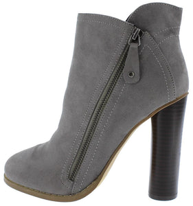 Grey Side Zip Block Heel Ankle Boot