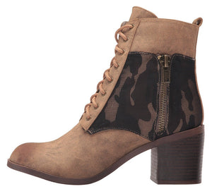 Distressed Lace Up Zip Camo Panel Combat Boot