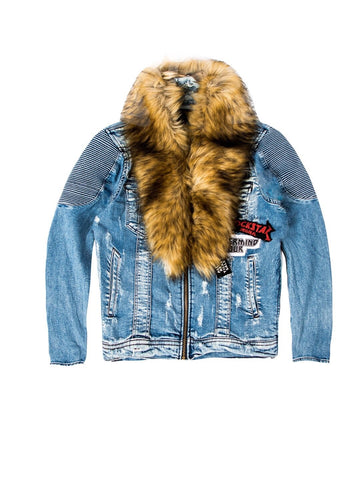 Davis Fur Biker Jacket (Blue)