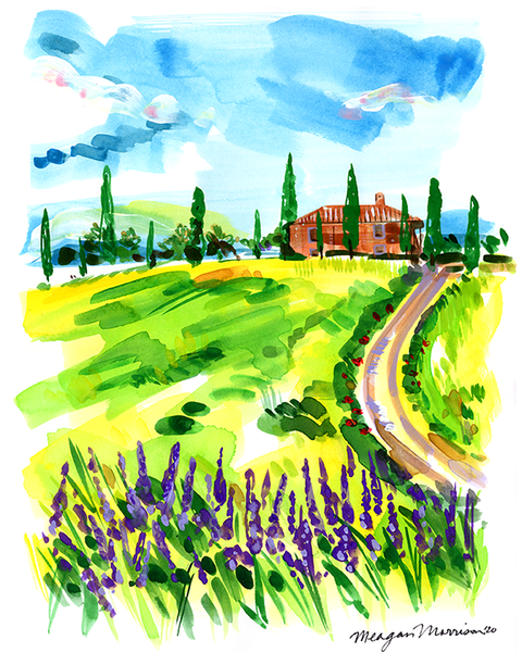 Fields of Gold & Lavender (Tuscany) Print