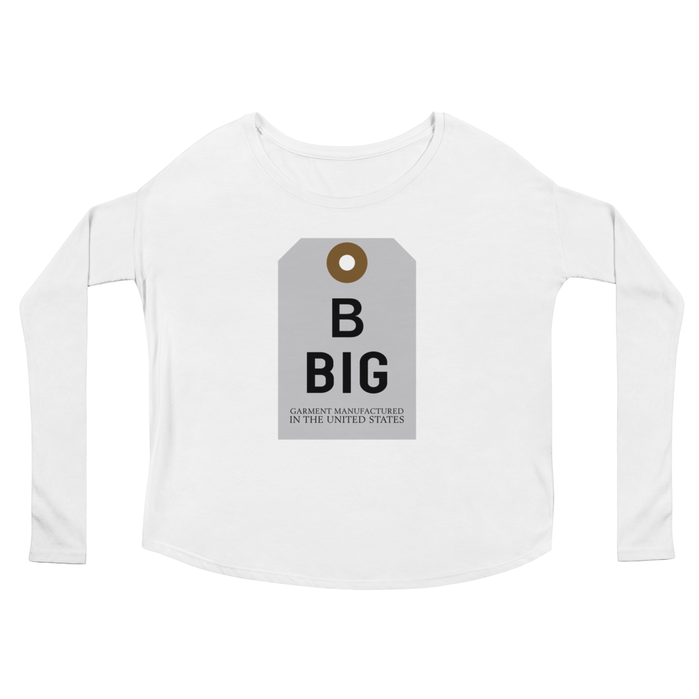 Big Tag Ladies' Long Scoop Neck Sleeve Tee