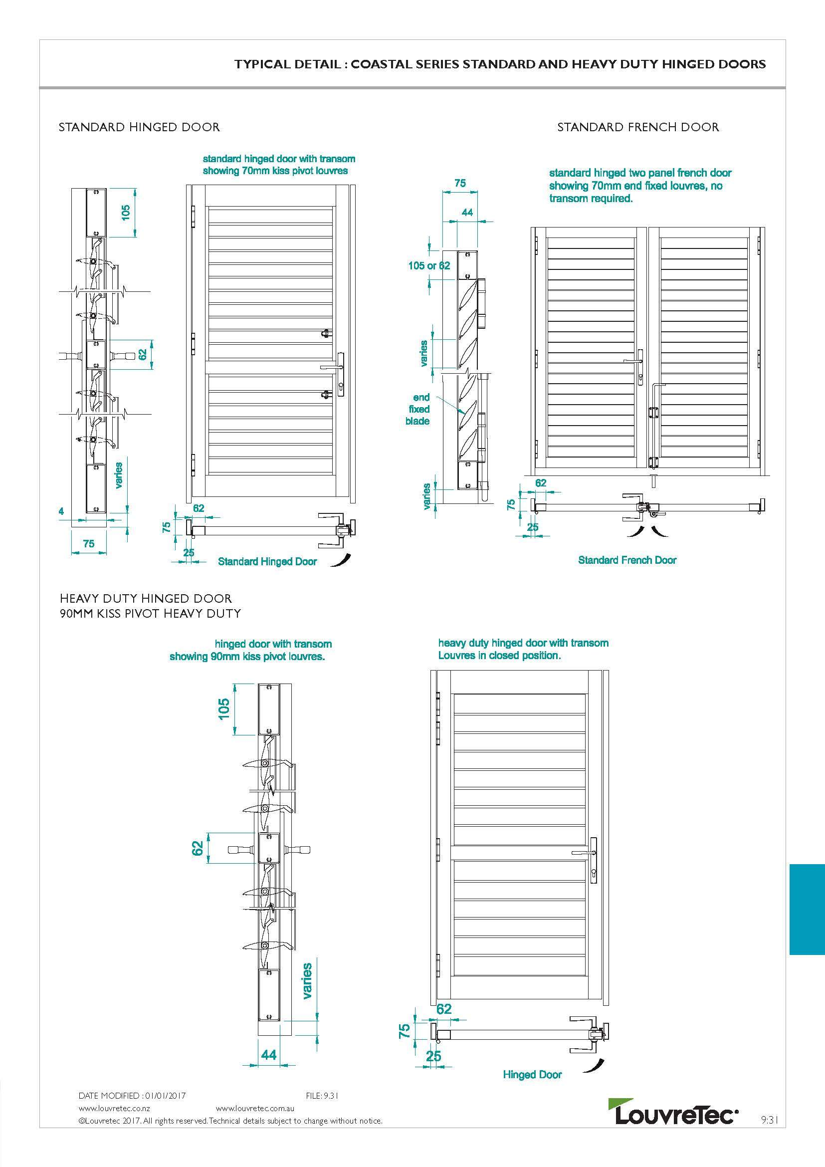 Standard & Heavy Duty Hinged Doors Typical Det|9.31