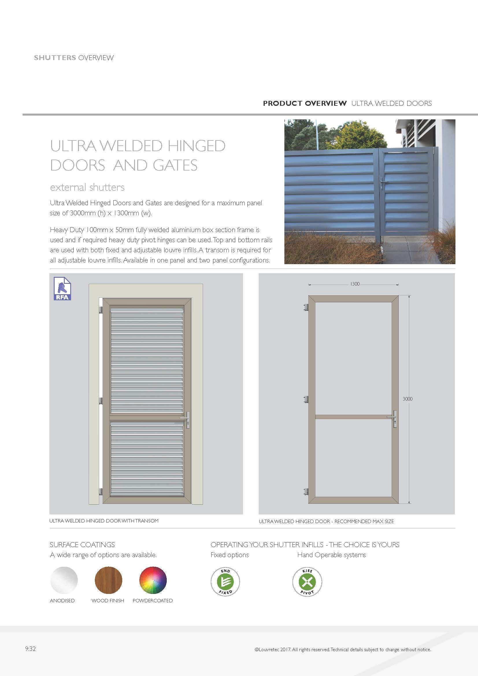 Ultra Welded Hinged Doors  9.32