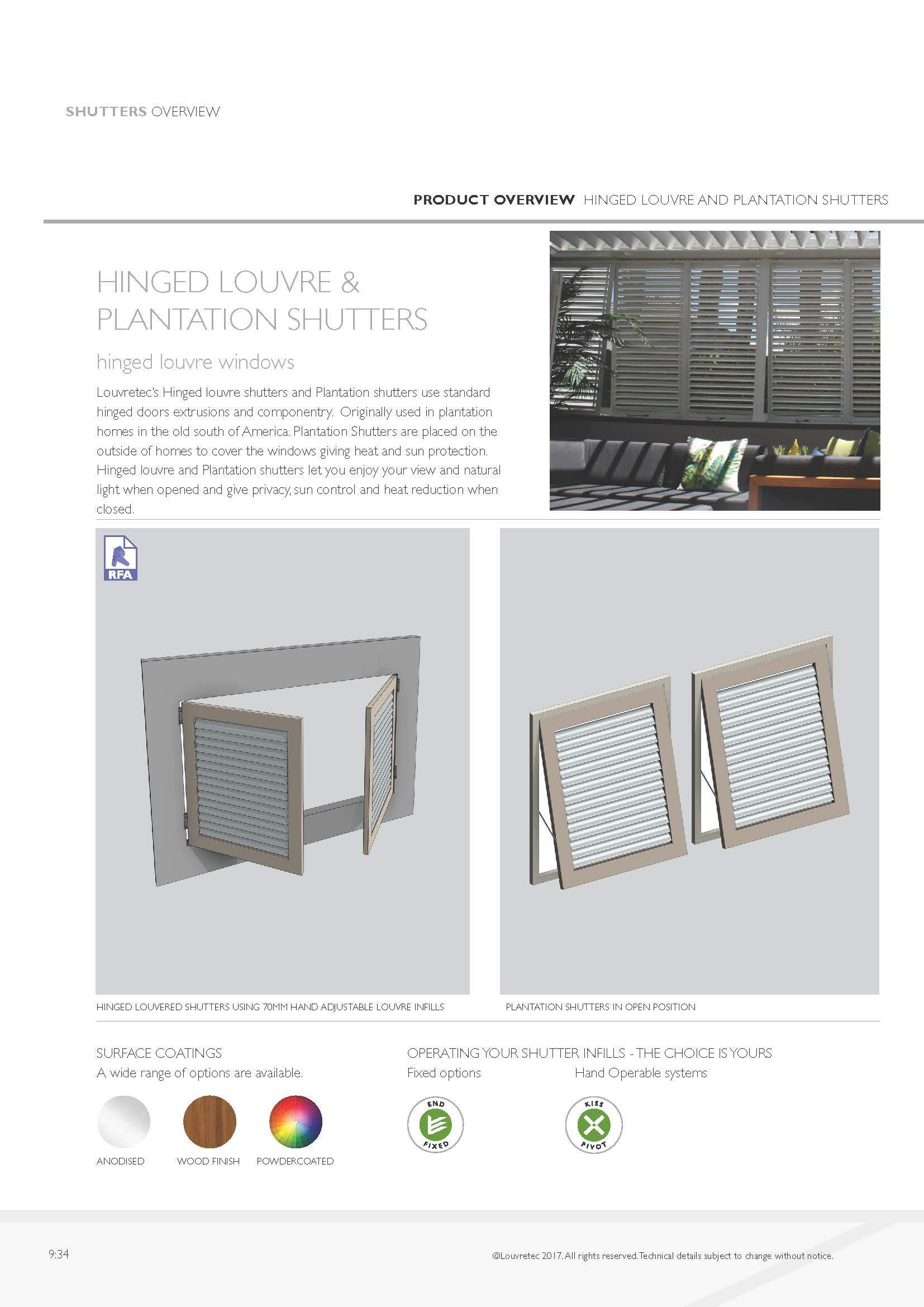 Hinged Louvre & Plantation Shutters | 9.34
