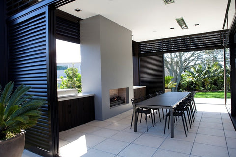 outdoor dining set for large group and outdoor fireplace