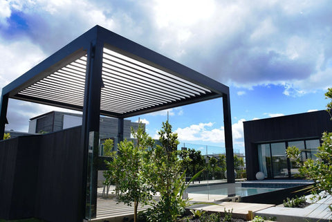 outdoor shutter roof with simple cube pillars by the pool