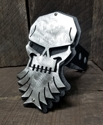 Skull With Beard Trailer Hitch Cover