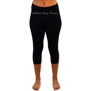 Women's Concealed Carry Yoga Capri's with Lattice Detail at Hem