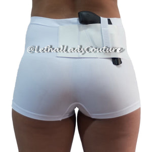 White Slimming Concealed Carry Boy Shorts
