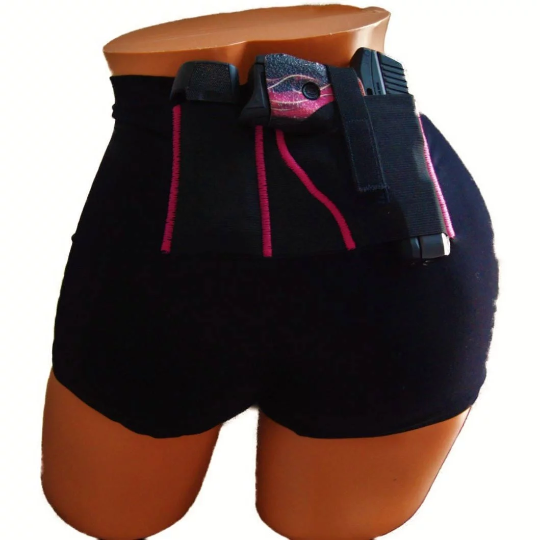 Black Concealed Carry Slimming Boy Shorts with Accent Color