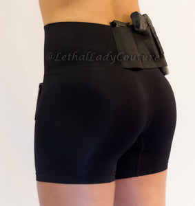 Black Slimming Concealed Carry Shorts