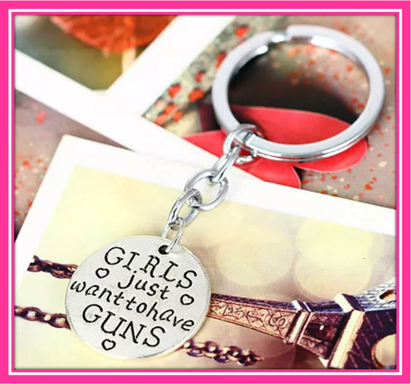 Girls Just Want To Have Guns Heart Keyring