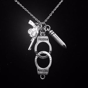 Handcuffed Antique Silver Handcuff Gun Pendant Necklace