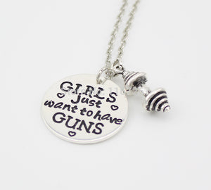 """GIRLS Just want to have GUNS"" necklace"