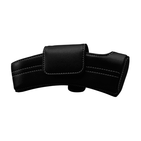 Black Leather Case with White Stitching - Bolt