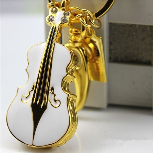 Crystal Violin USB Flash Drive Keychain