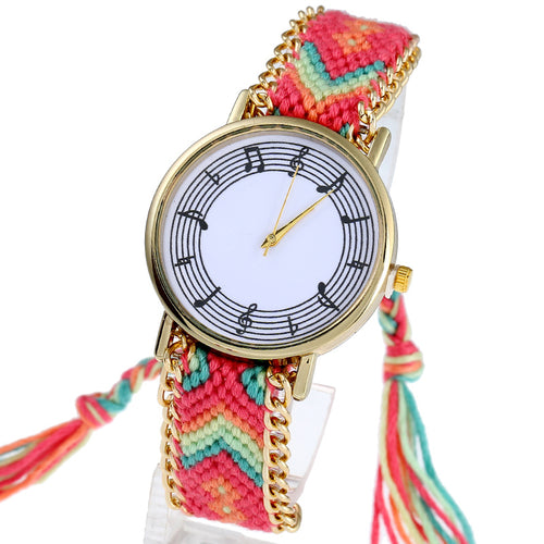 Unique Braided Musical Notes Wristwatch